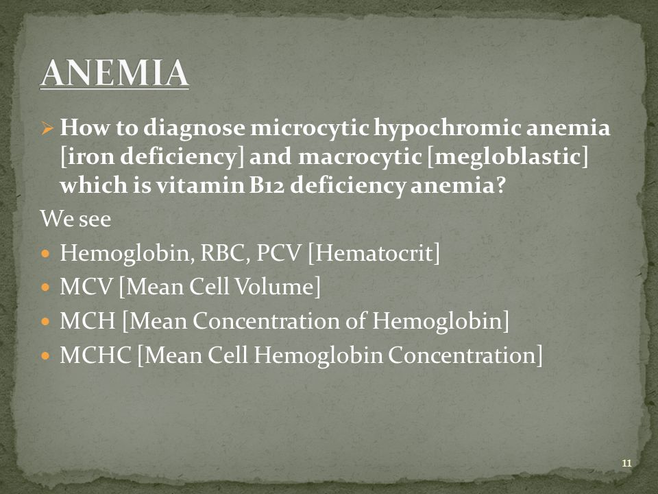 ANEMIA How to diagnose microcytic hypochromic anemia [iron deficiency] and macrocytic [megloblastic] which is vitamin B12 deficiency anemia